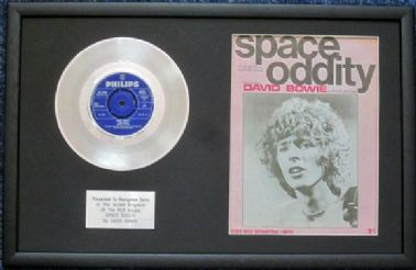 "DAVID BOWIE - 7"" Platinum Disc & Song Sheet - SPACE ODDITY"